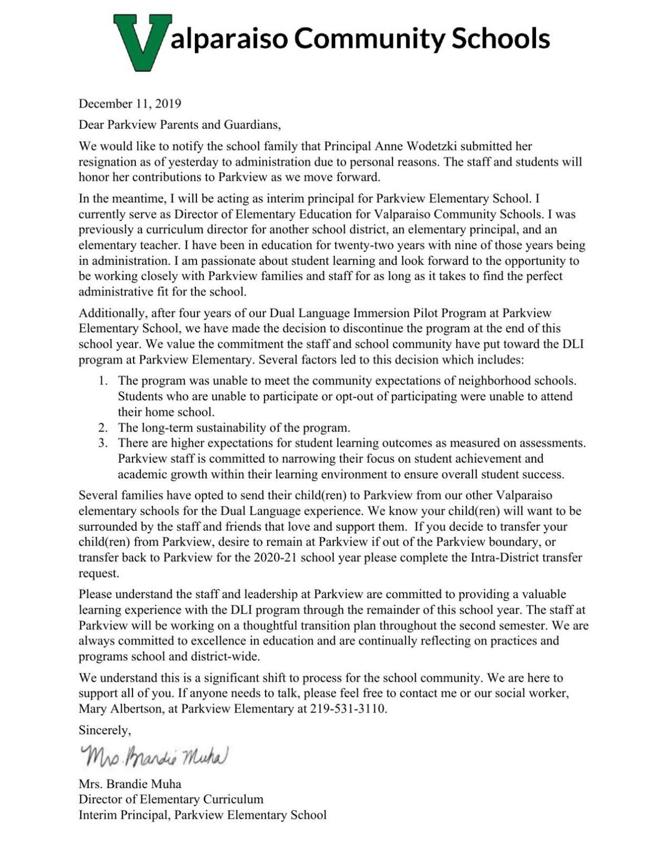 Valparaiso Community Schools DLI letter