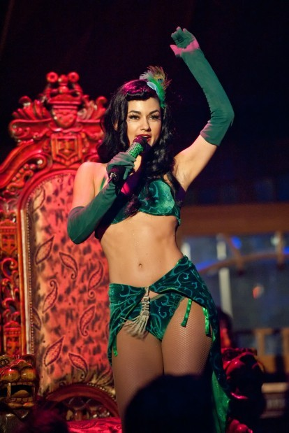 """Singer Melody Sweets of """"Absinthe"""" Las Vegas Stage Tent Show at Caesars Palace"""