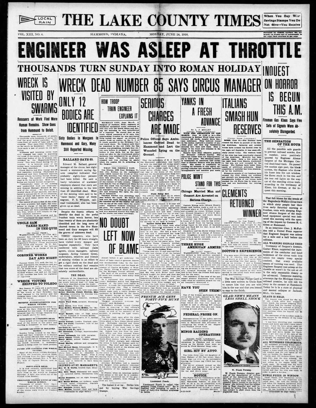 June 24, 1918: Engineer Was Asleep At Throttle