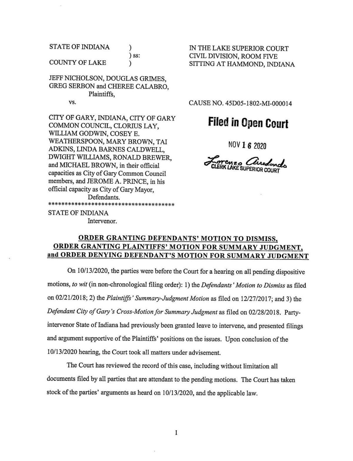 Nicholson v. Gary ruling in 'Welcoming City' case
