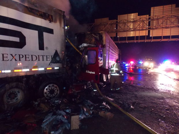 Northbound I-65 at Ridge: Two crashes, fire, hours of lane closures