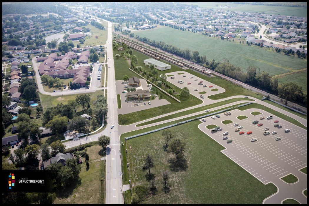 Rendering of South Shore Line proposed Dyer development
