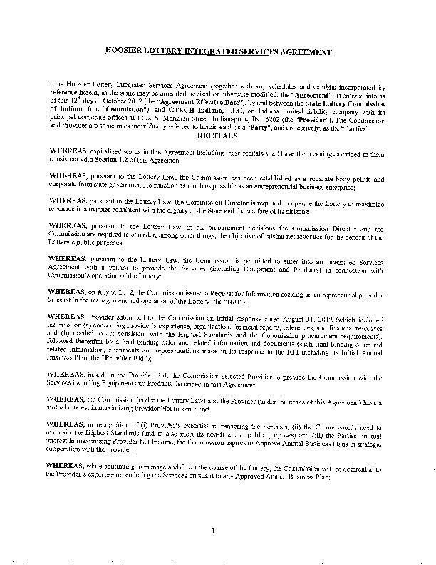 Original Hoosier Lottery privatization contract