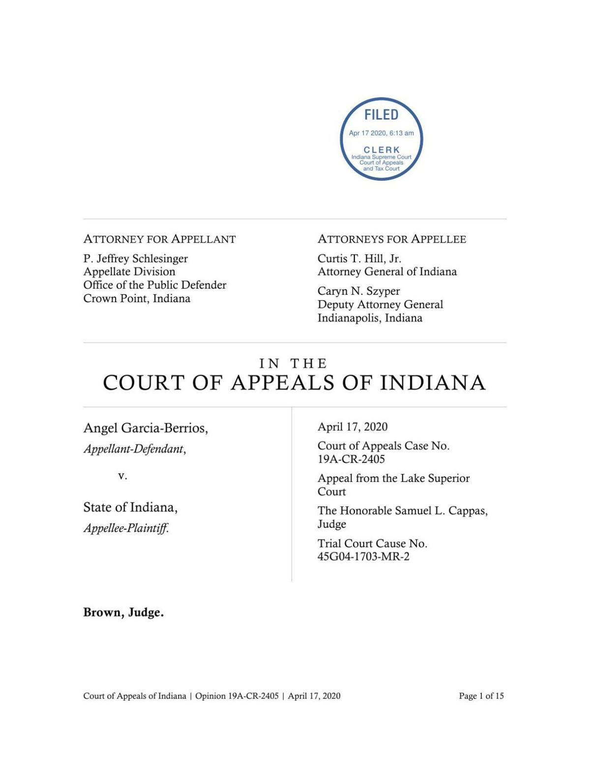 Garcia-Berrios v. State ruling of Indiana Court of Appeals