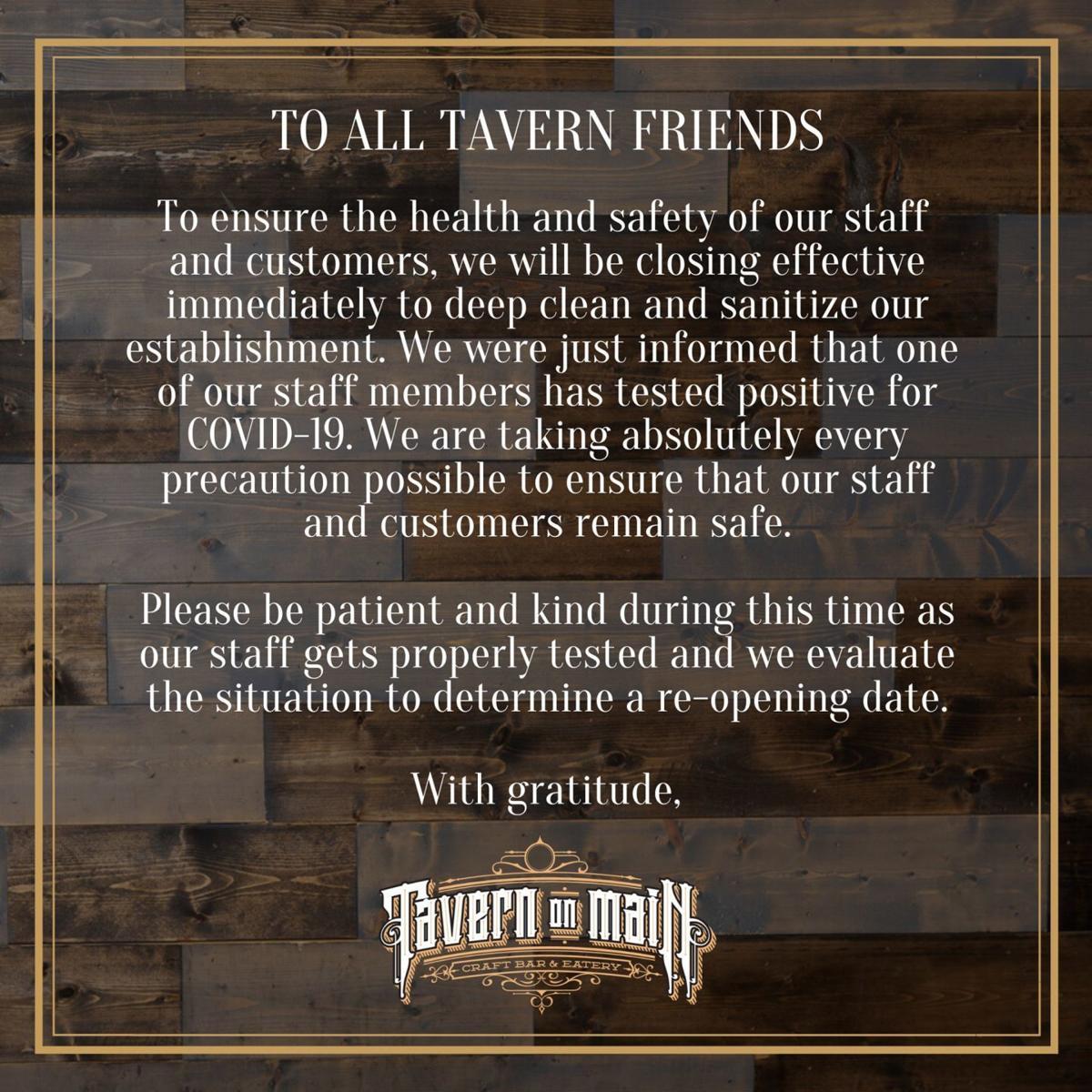 Tavern on Main announcement