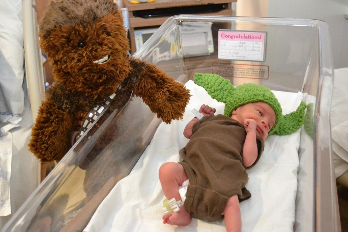 Babies don Baby Yoda caps at Franciscan Health hospitals