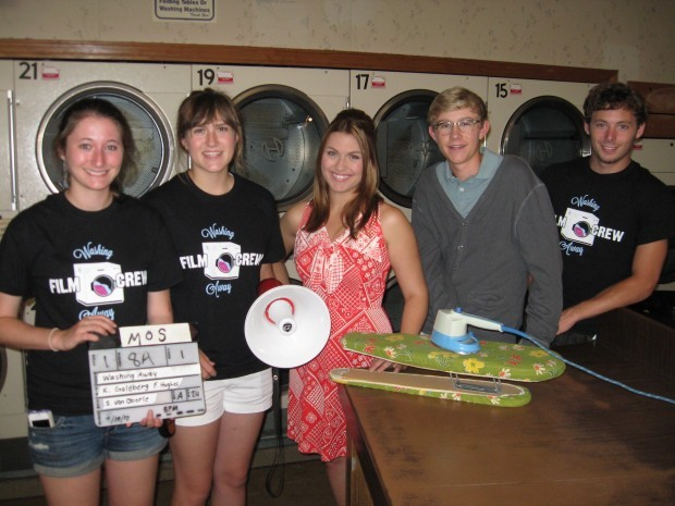 """Cast and Crew for the Movie """"Washing Away"""" on the Laundromat Set in Highland, Ind."""