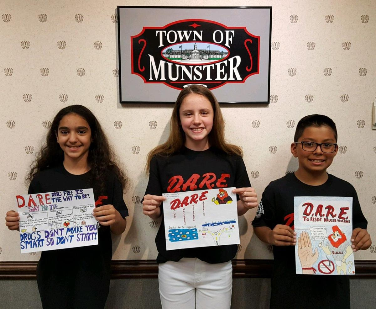 munster students recognized for dare poster contest lake