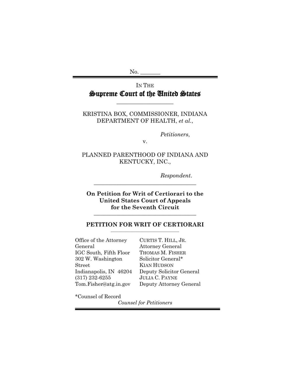 Box v. PPINK petition for writ of certiorari by state of Indiana