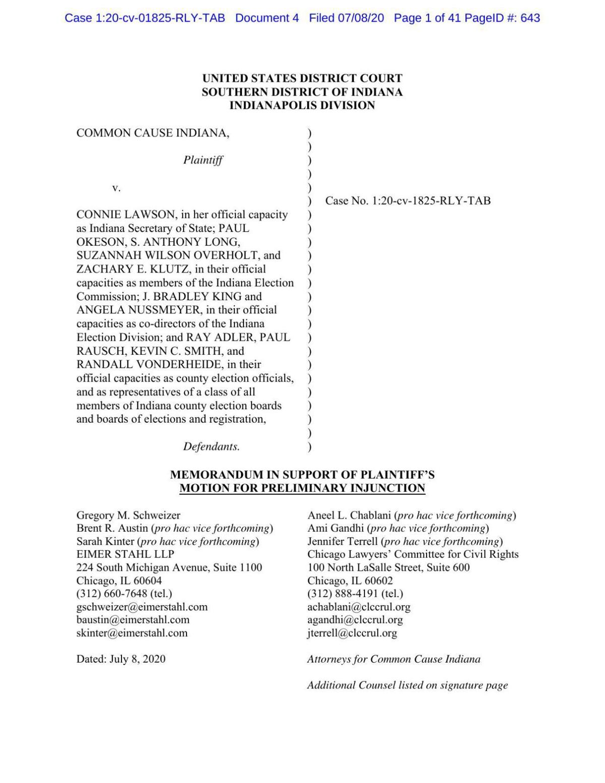 Common Cause v. Lawson motion for preliminary injunction