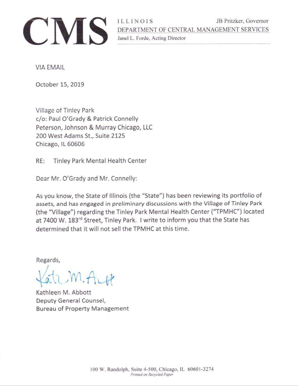 Tinley Park letter