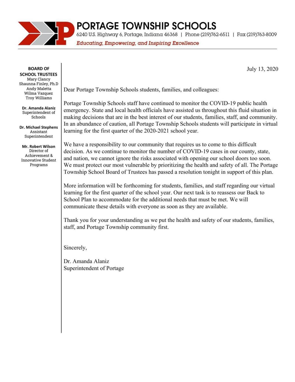 Portage Township letter to parents