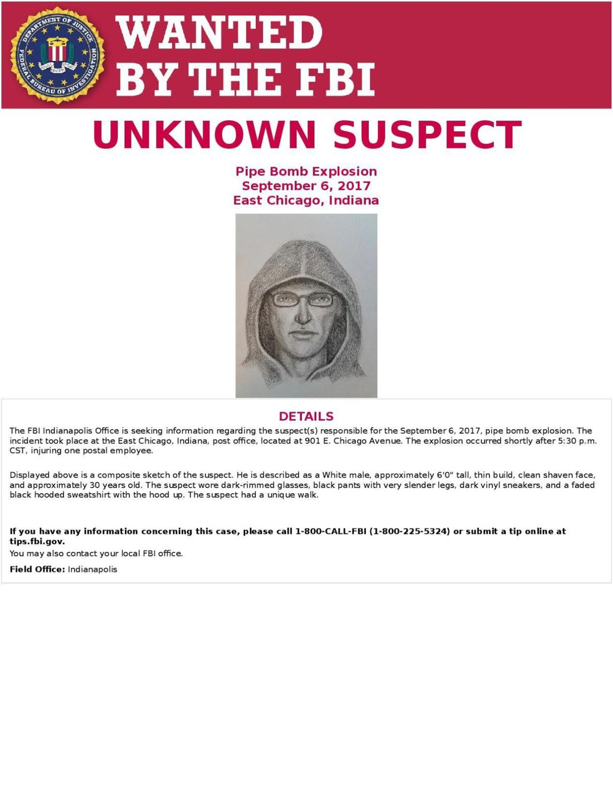 FBI releases sketch of person of interest in East Chicago post office bombing