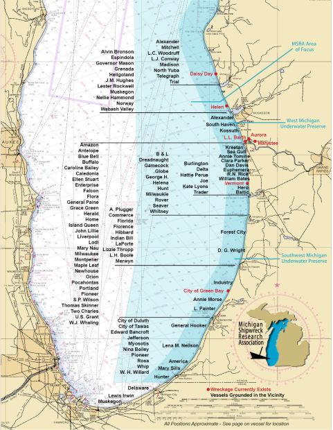 map of lake michigan shipwrecks Shipwrecks Of Lake Michigan Leisure Lifestyles Nwitimes Com map of lake michigan shipwrecks