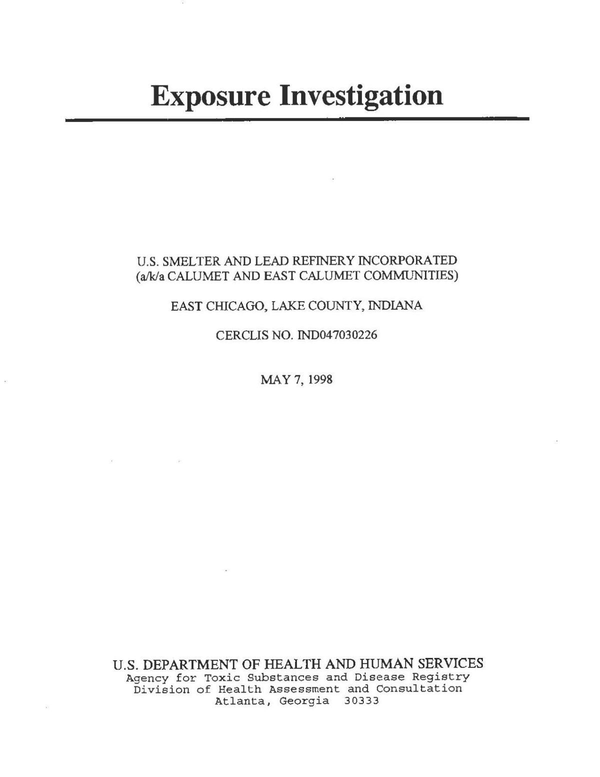 1998 ATSDR Exposure Investigation
