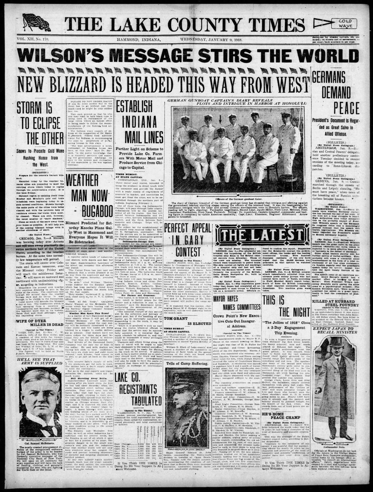Jan. 9, 1918: Establish Indiana Mail Lines