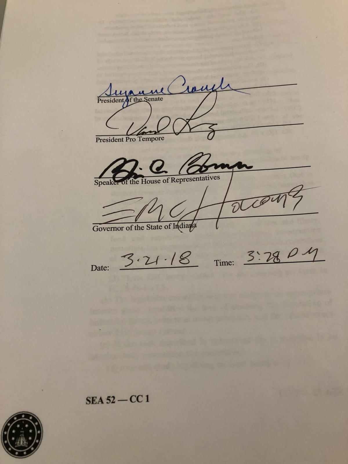 Here it is — Gov. Eric Holcomb's signature that officially legalized CBD oil in Indiana