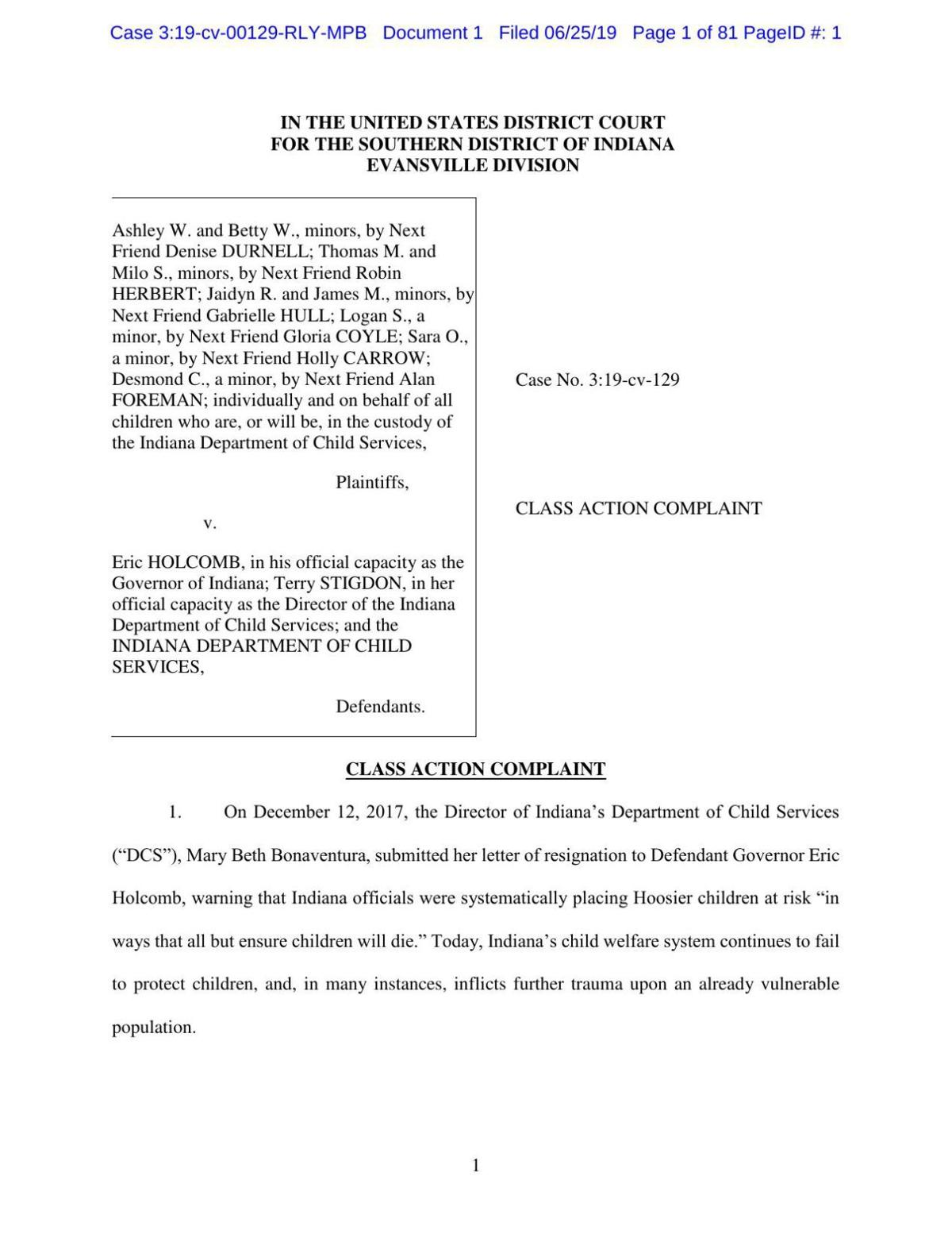 Ashley W. v. Holcomb lawsuit re: Indiana Dept. of Child Services