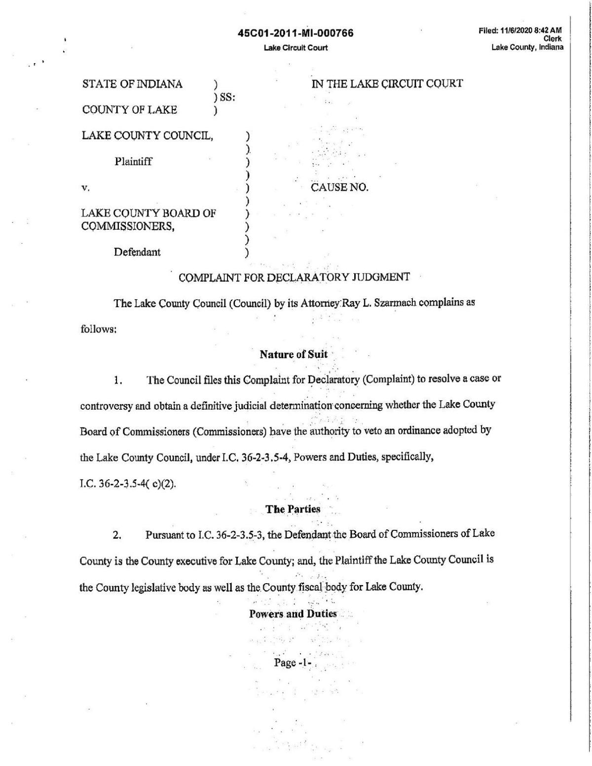 Council lawsuit: Lake County Council v. Lake County Commissioners