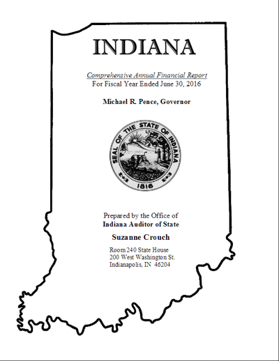 Title page of Indiana's 2016 CAFR