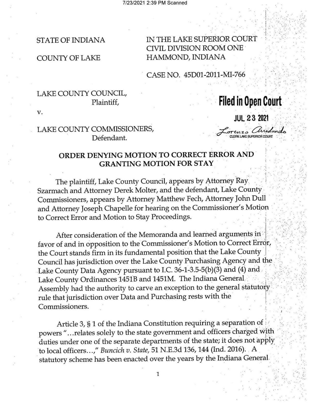 Stay order in Lake County Council v. Lake County Commissioners