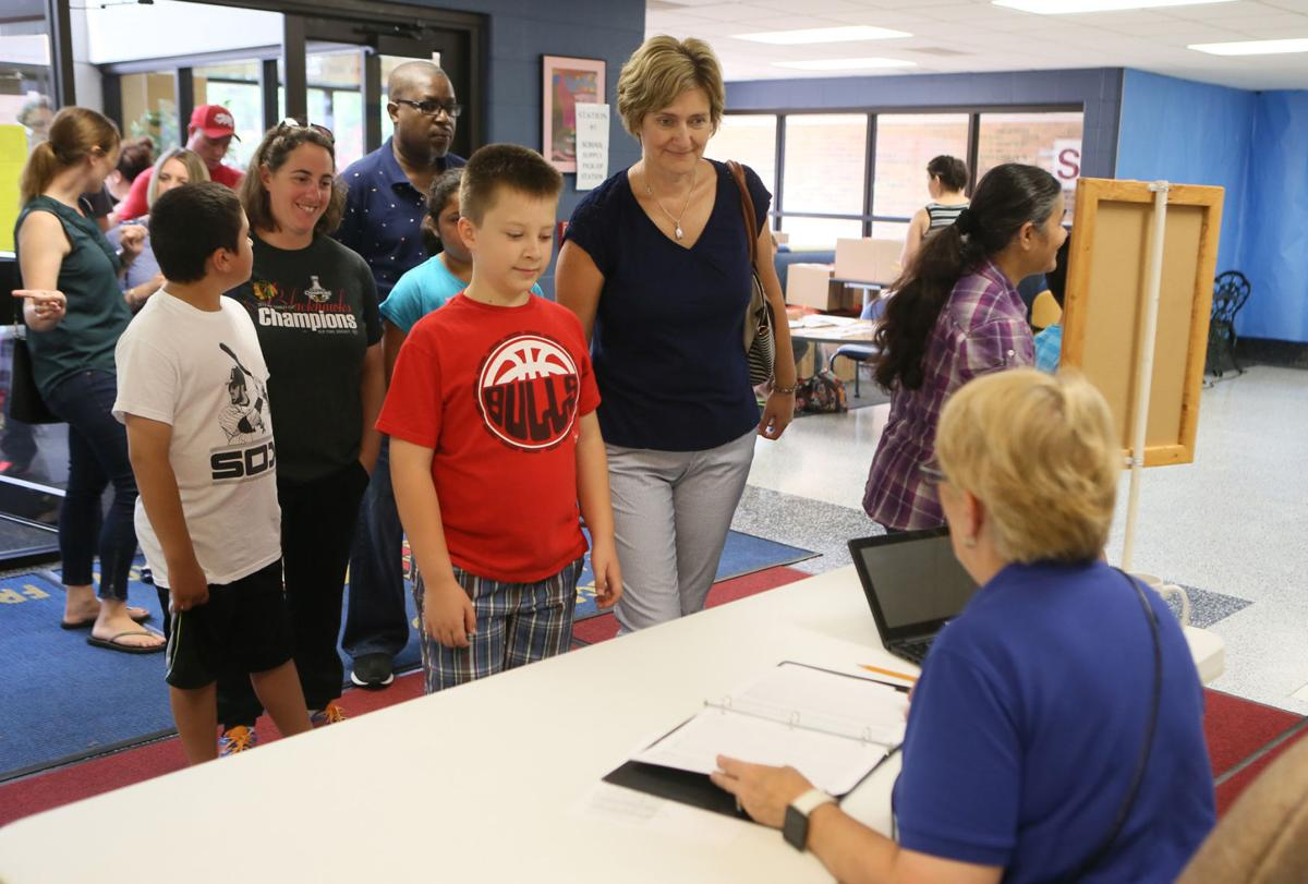 Registration at Frank Hammond Elementary School in Munster