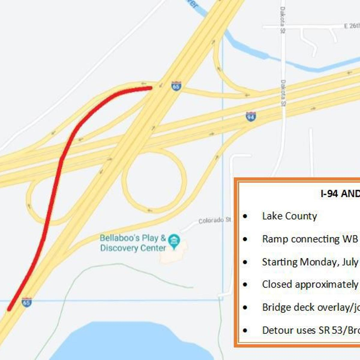 Start of one-week ramp closure at I-80/94 and I-65 moved to