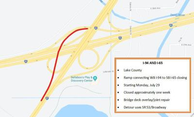 Start of one-week ramp closure at I-80/94 and I-65 moved to Wednesday