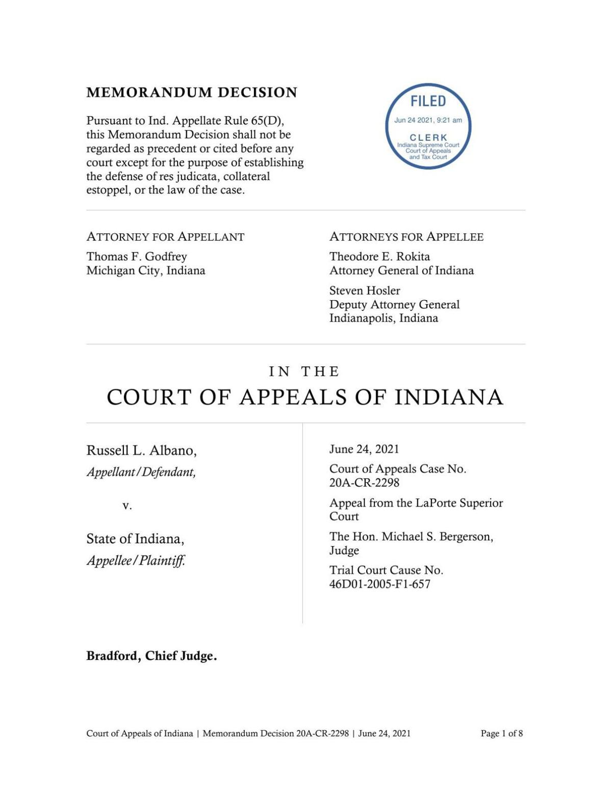 Albano v. State ruling of Indiana Court of Appeals