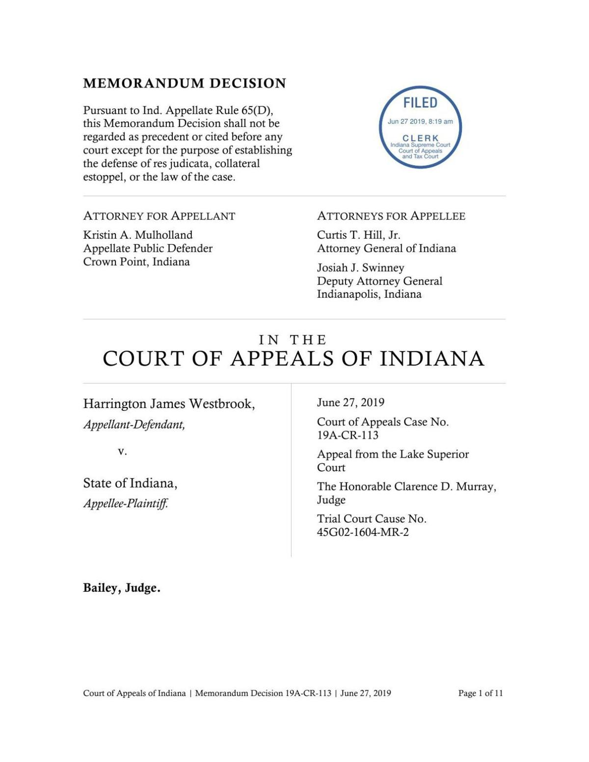 Westbrook v. State ruling of Indiana Court of Appeals