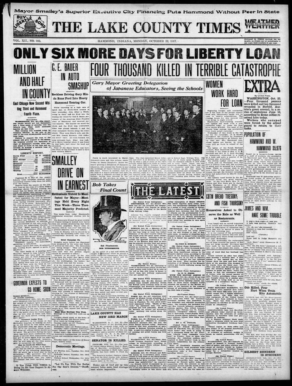 Oct. 22, 1917: Population of Hammond and W. Hammond 35,976