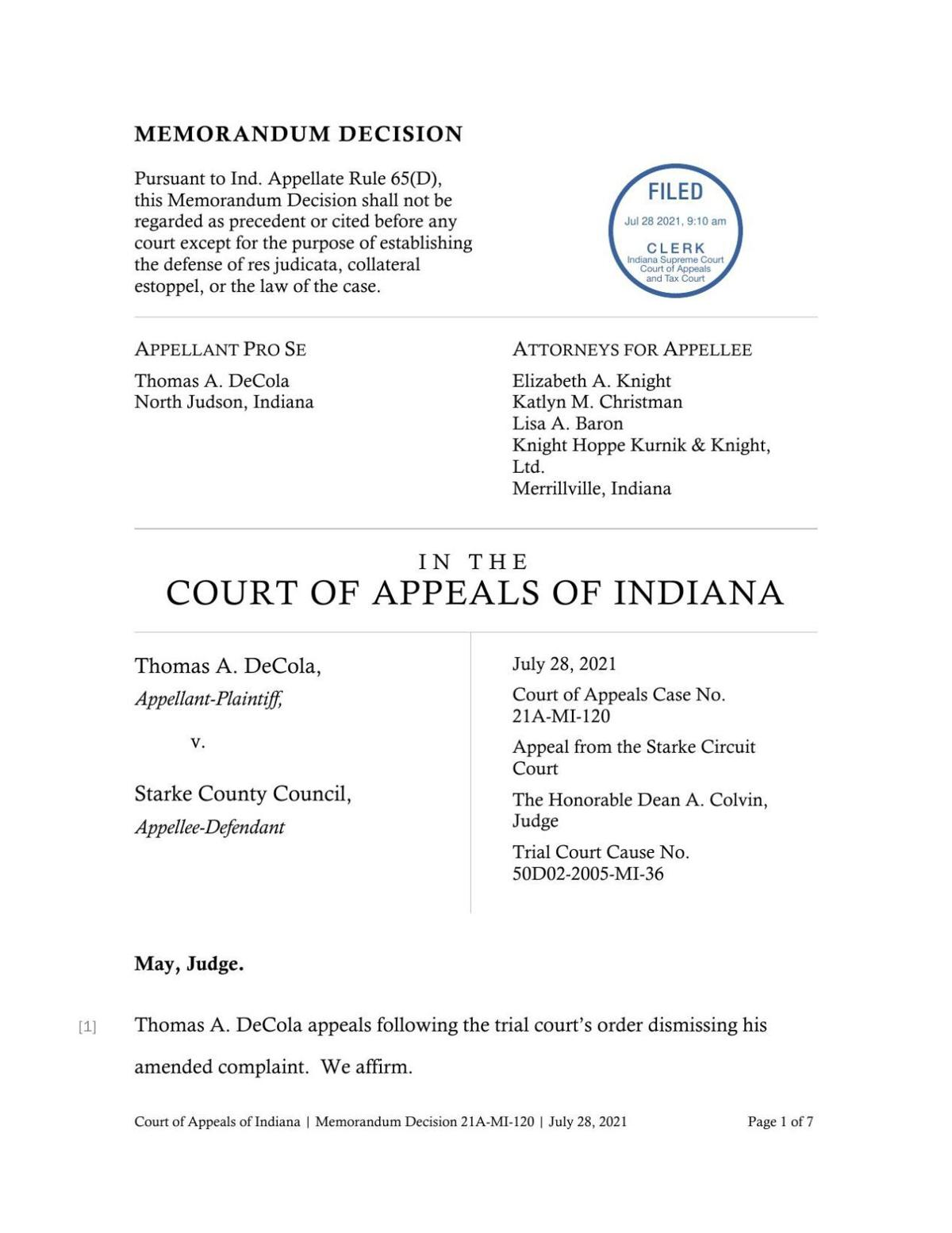 DeCola v. Starke County Council ruling of Indiana Court of Appeals