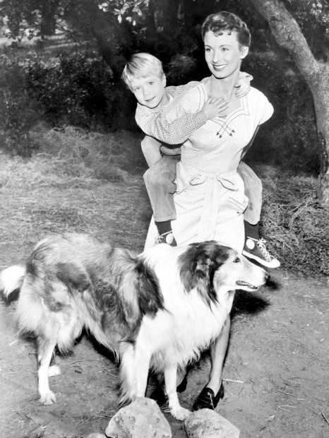 Actress Cloris Leachman with Co-Stars Jon Provost and Lassie