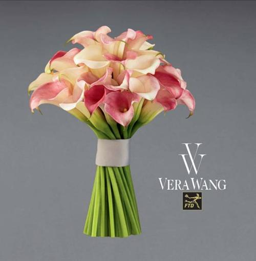 Brilliant Blushing Pink Calla Lillies In Wedding Bouquet By