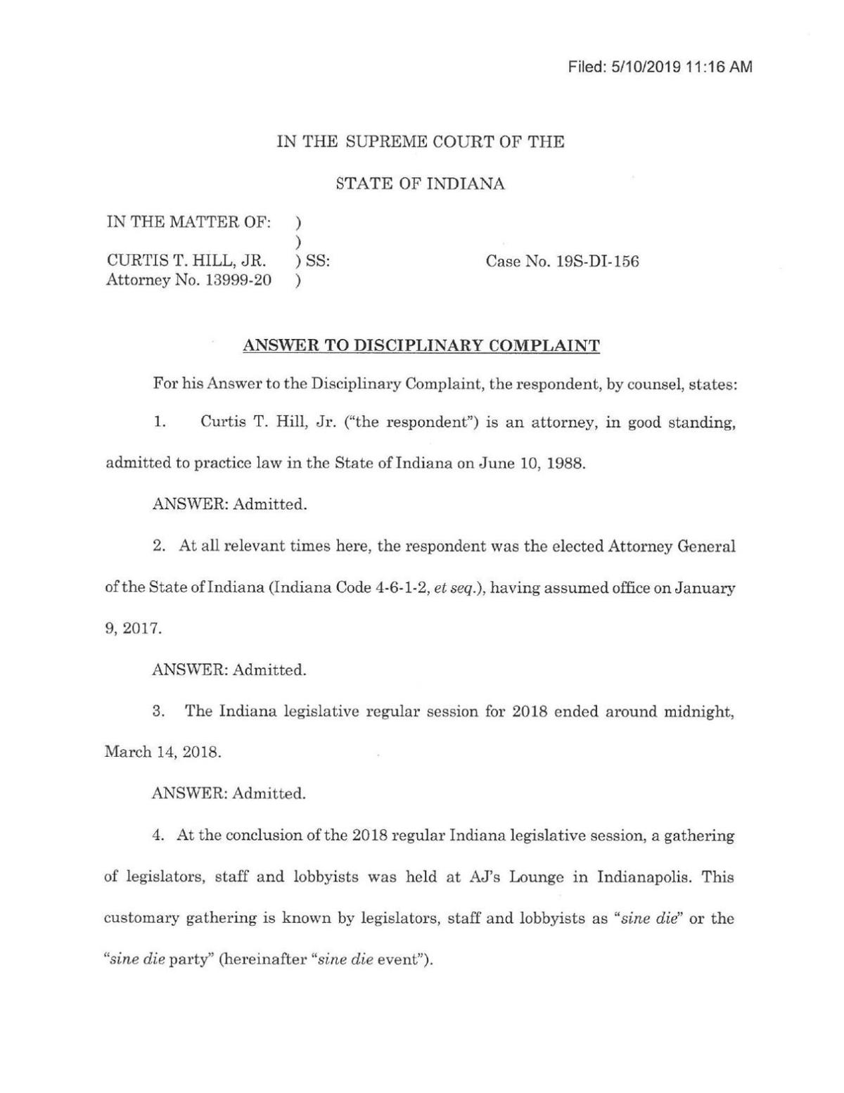 Response by Attorney General Curtis Hill Jr. to attorney discipline complaint
