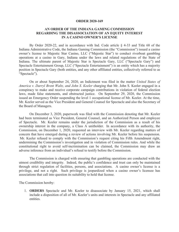 Indiana Gaming Commission order on John Keeler casino ownership