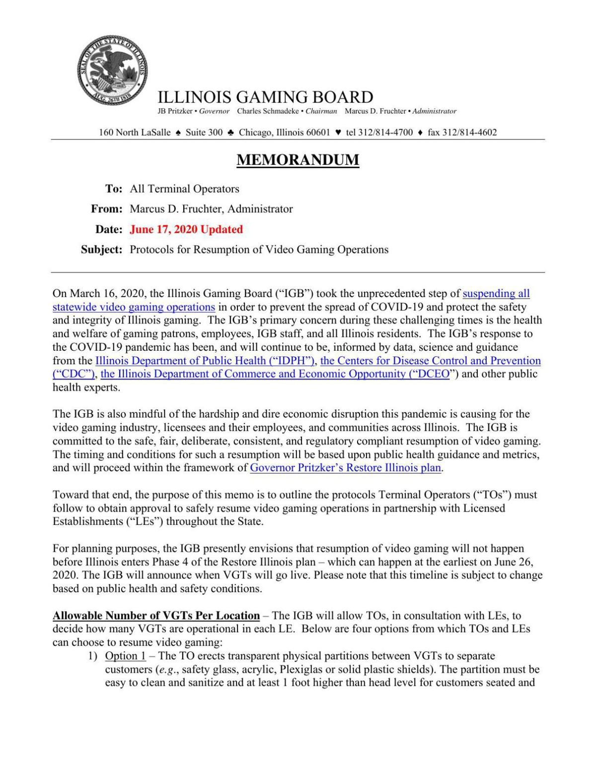 Illinois Gaming Board reopening protocol