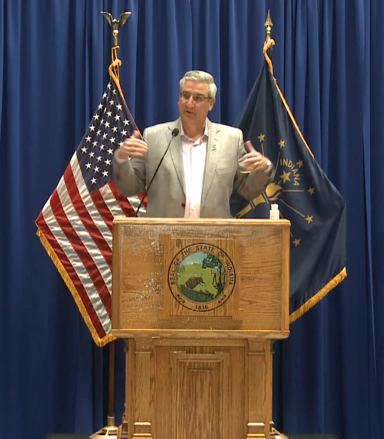 Holcomb praises Crown Point for doing right things during coronavirus pandemic