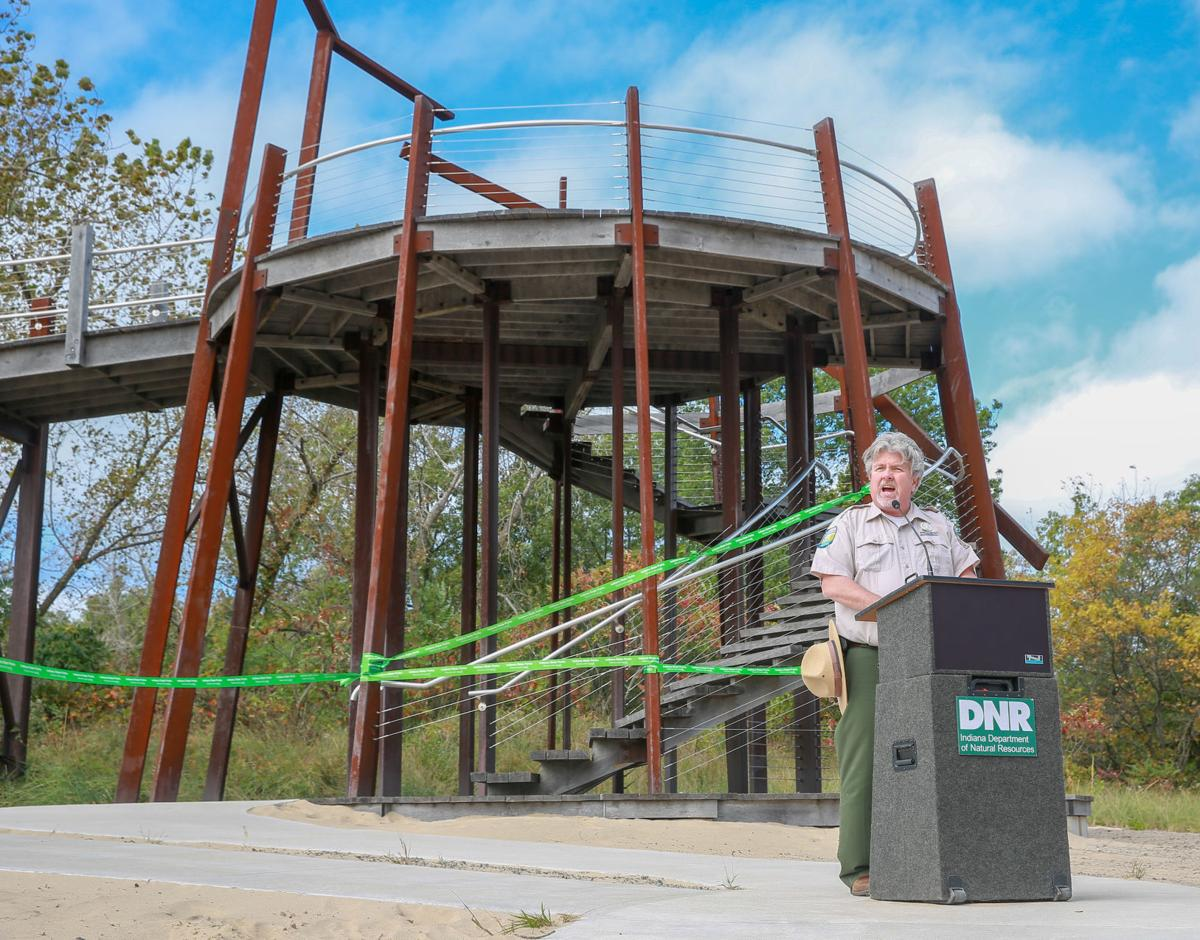 The bird tower at Indiana Dunes State Park is dedicated