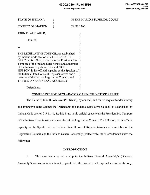 Whitaker v. Legislative Council complaint against HEA 1123