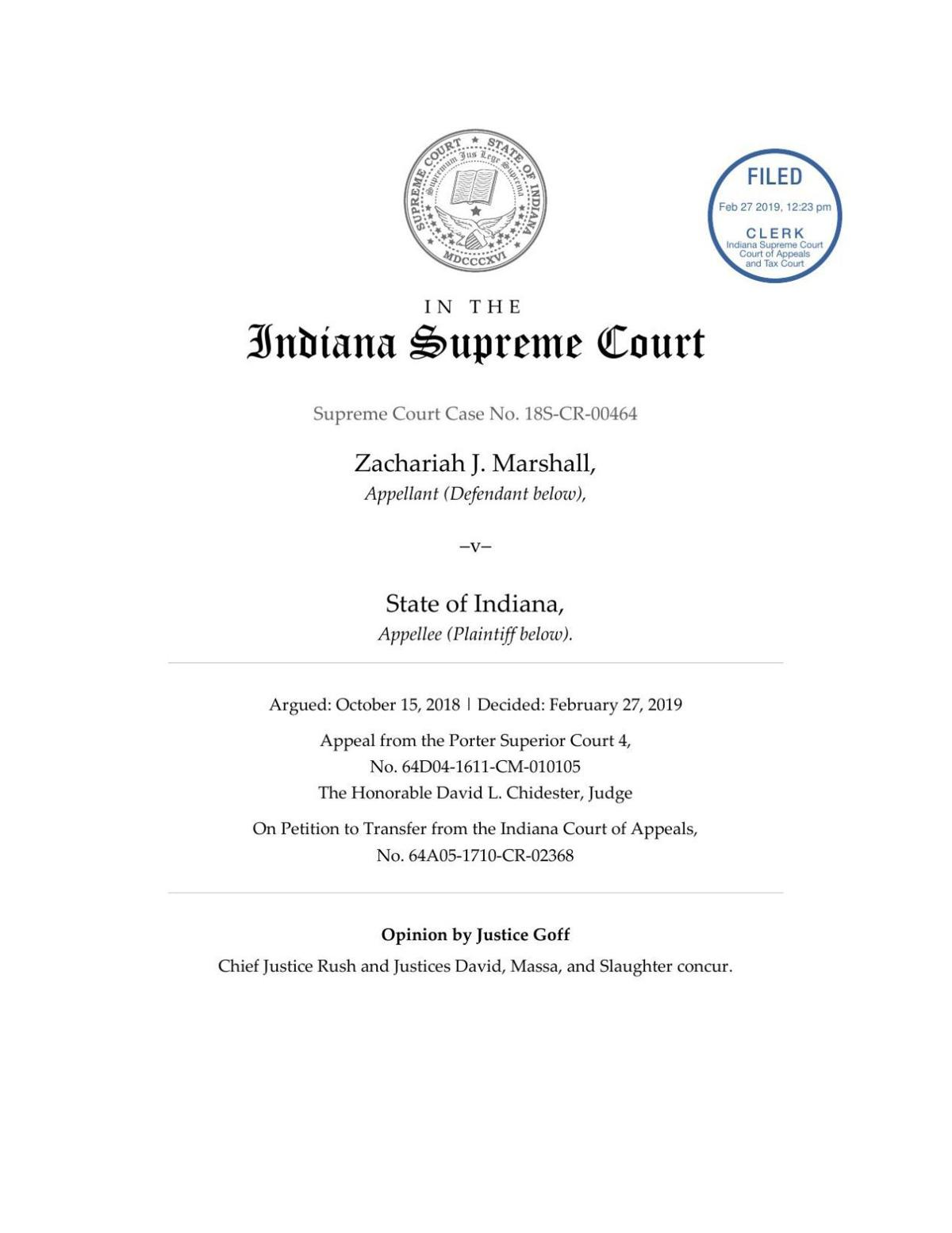 Marshall v. State ruling of Indiana Supreme Court