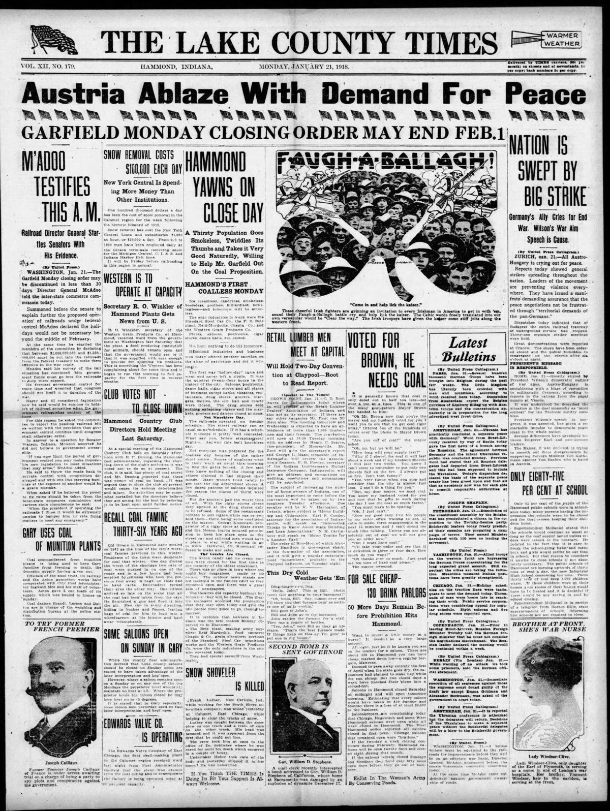 Jan. 21, 1918: Austria Ablaze With Demand For Peace