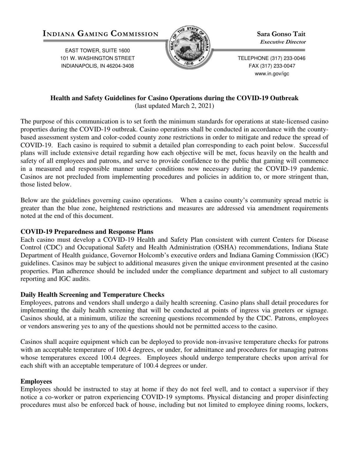 Updated COVID-19 operating guidance for Indiana casinos