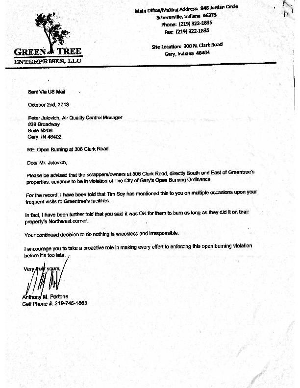 Oct 2 2103 Letter Reporting Open Burning
