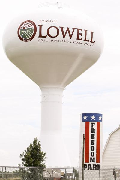 The water tower at Fredom Park in Lowell