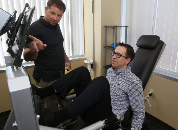 Times reporter Giles Bruce tries out the Adaptive Resistance Exercise equipment
