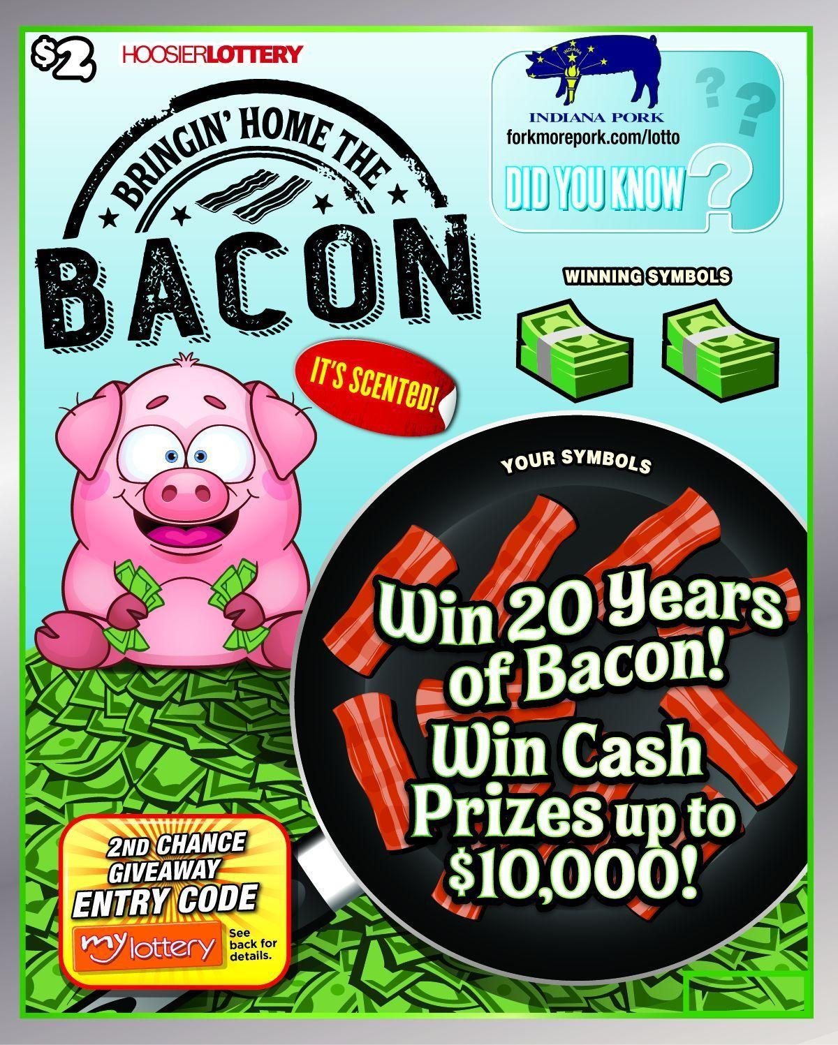 Hoosier Lottery debuts new bacon-scented lottery tickets