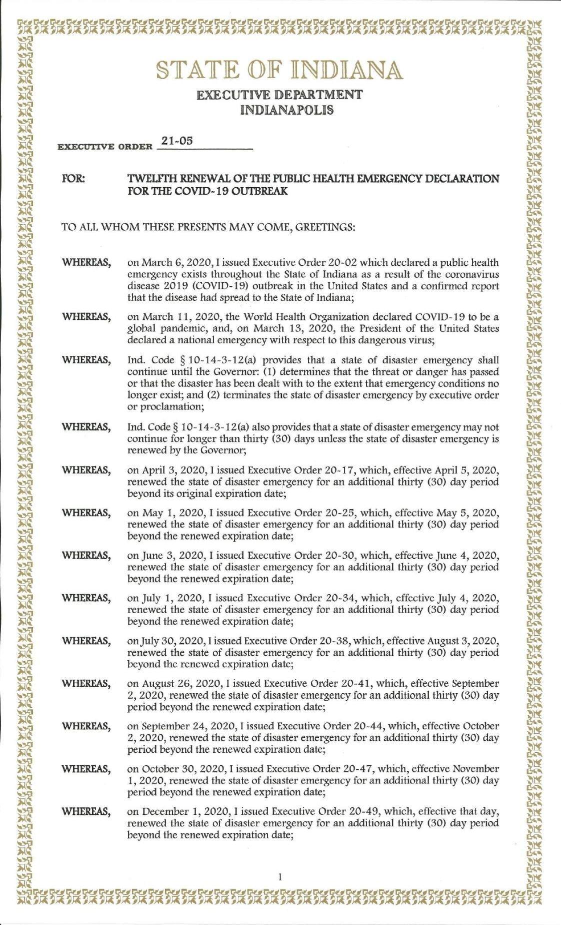 Gov. Eric Holcomb Executive Order 21-05