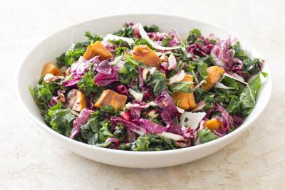 Food Column ATK Kale Salad With Sweet Potatoes