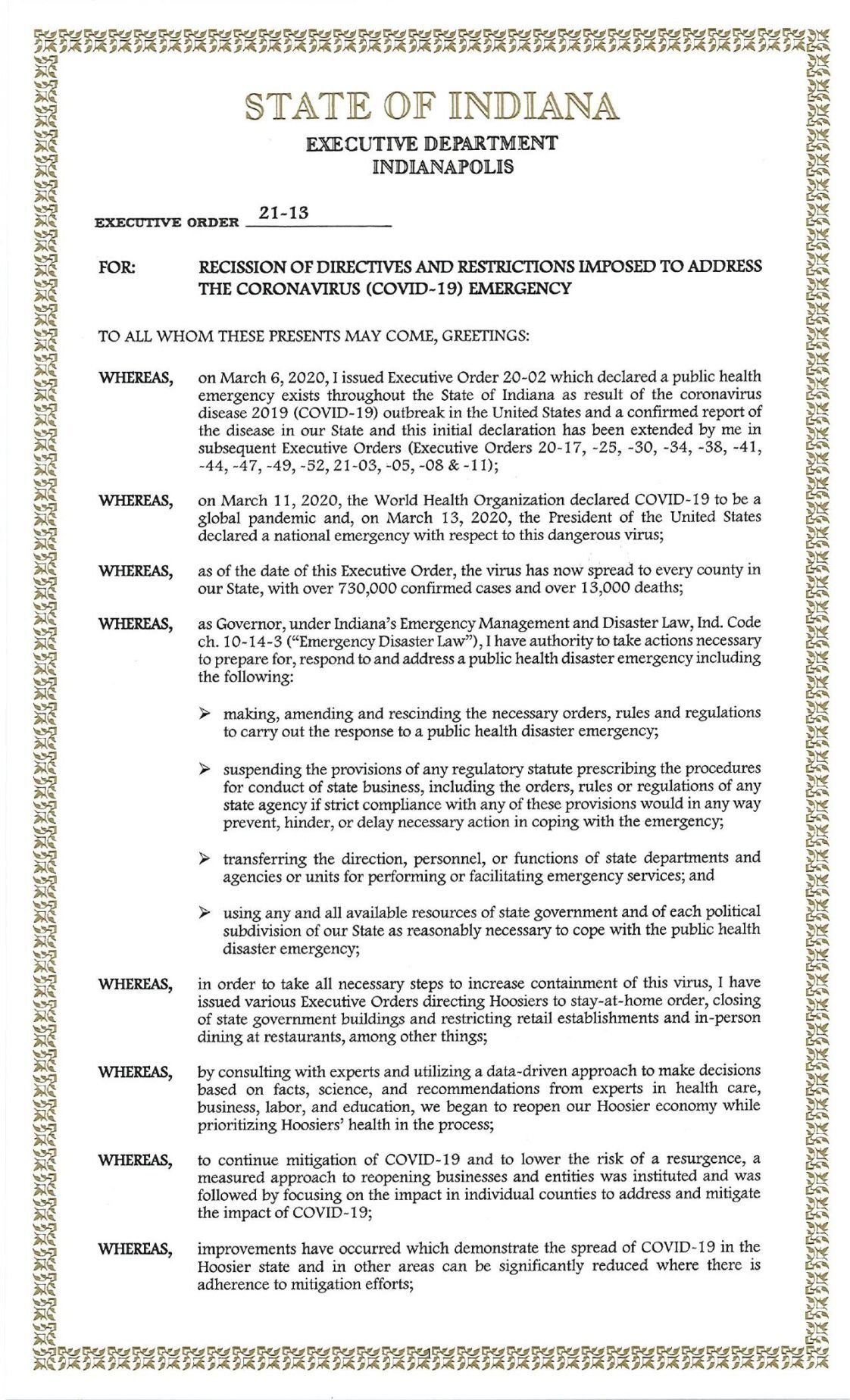 Gov. Eric Holcomb Executive Order 21-13